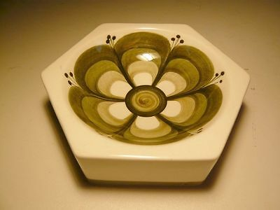 Vintage Jersey Pottery Hexagonal Dish hand-painted green Ashtray Collectable