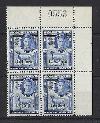 SOMALILAND..GEORGE VI.(1936-52)15c ON 3a..SG127.SHEET NUMBER.BLK OF 4.MNH.(FF40)