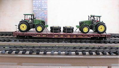 LGB  A.T.S.F. FLAT CAR  w/ (2) FARM TRACTORS & TIRES FOR A LOAD (METAL WHEELS)