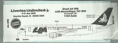Liveries Unlimited Decal A4-098 Boeing 767-200 LAM decal in 1:144 Scale