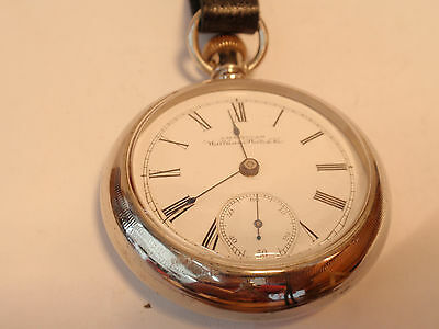 Large Waltham 18SZ Pocket Watch in OreSilver Case +Fob -15J - Keeps Perfect Time