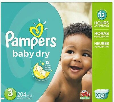 Pampers Baby Dry Diapers Economy Pack Plus Size 3 of 204 Count New