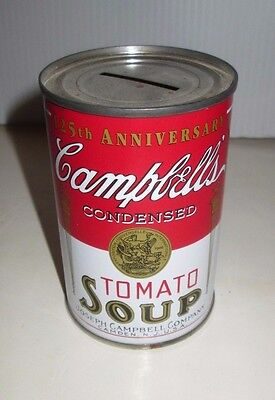 Campbell's Soup 125Th Anniversary Tomato Soup Can Replica  Tin Bank Coin Slot