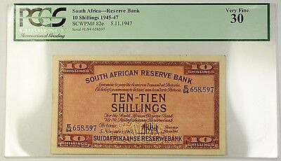 1945-47 5.11.1945 South Africa 10S Reserve Bank Note SCWPM# 82e PCGS VF-30