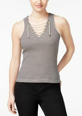 NWT American Rag Black Ivory Striped Lace-Up Tank Top Knit Sleeveless V-Neck XXS