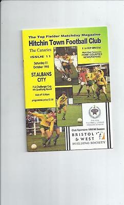 Hitchin Town v St Albans City FA Cup Football Programme 1995/96