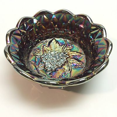 Fenton Glass Amethyst Carnival Candy Dish Grapes & Vine