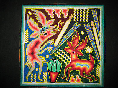 "12"" Huichol Indian Yarn Painting Mexican Native Folk Art Blessing the Peyote"