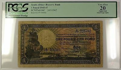 1945-47 24.9.1947 South Africa 1 Pound Note SCWPM# 84f PCGS VF-20 Apparent (B)