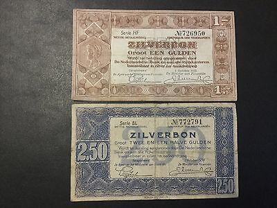 1938 Netherlands Paper Money - Lot Of 2 Banknotes !