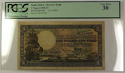 1945-47 3.11.1947 South Africa 1 Pound Note SCWPM# 84f PCGS VF-30 (B)