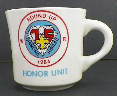 Vintage Boy Scouts 1984 Diamond Jubilee Round Up Honor Unit Coffee Mug Cup