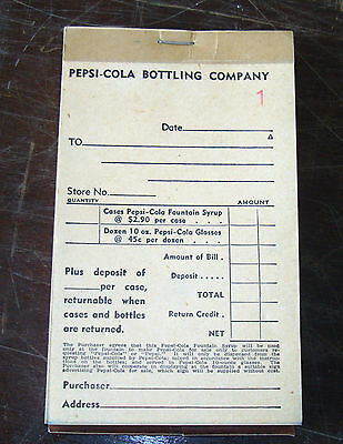Pepsi-Cola Delivery Sales Full Book Of Tickets For Syrup & Glasses