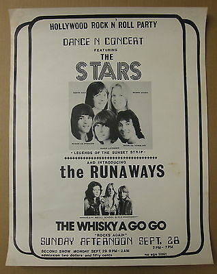 RUNAWAYS Whisky A Go Go 1975 ORG CONCERT POSTER Kim Fowley PUNK Hollywood Stars