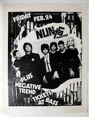 The NUNS Mabuhay Gardens SF 1978 US ORG Concert POSTER Negative Trend PUNK VG+