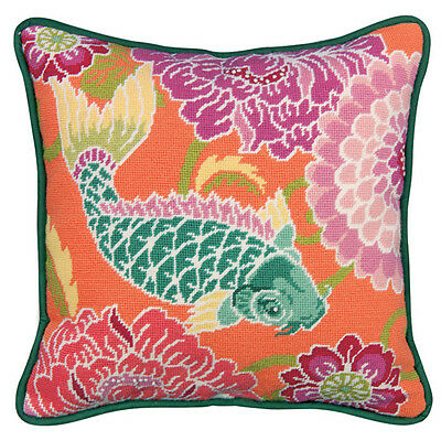 Needlepoint Kit KOI WITH FLOWERS ~ Dimensions