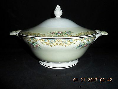 Edwin Knowles Semi Vitreous China Covered Serving Bowl 47 5 Pink Blue Flowers
