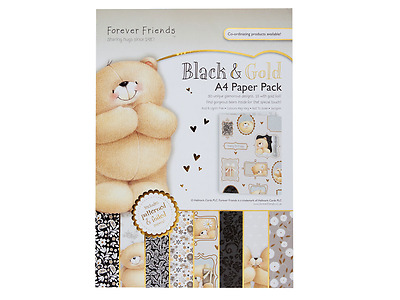 Forever Friends A4 foiled paper pack (160gsm) black & gold (30pk)