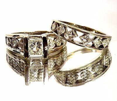 14k white gold 2.75cttw diamond princess engagement ring wedding band set 10.1g