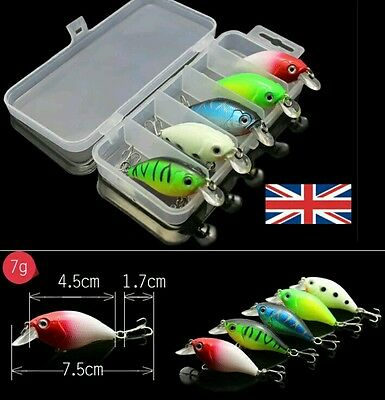 5 Pike Bass Perch Trout Spinning Rattling Lures Plugs Tackle Trace