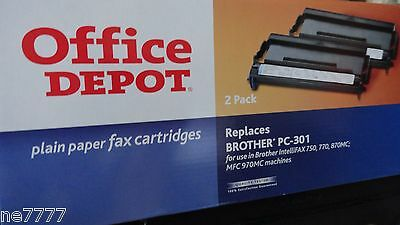 Double Pack of Office Depot Plain Paper Fax Cartridge for Brother PC-301 - 2 Pcs