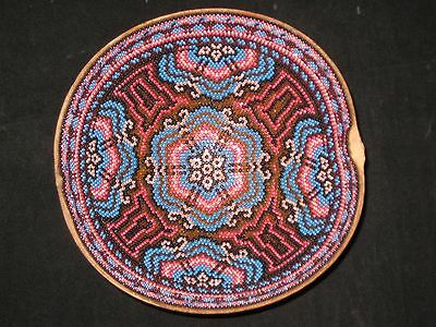 Phenomenal Huichol Indian Mexican Folk Art Hand Carved and Beaded Gourd Bowl