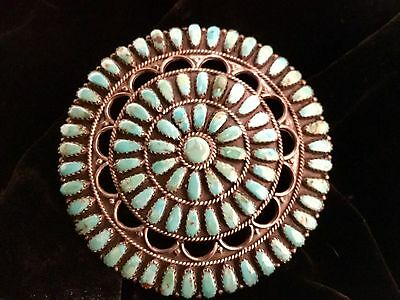 Signed LMB (Larry Begay) Sterling &Turquoise Vintage Navajo Pin/Brooch/Pendant