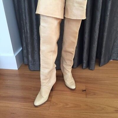 Vintage 1970s womens thigh high leather boots