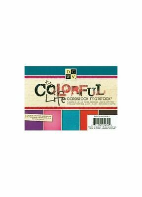 DCWV Cardstock Mat stack colorful life with Glitter/Gloss 11,4x16,5cm, 72 Bögen