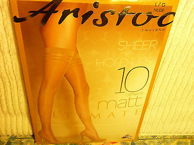"""Aristoc """"10D Ultimate Matt Sheer Hold Up Stockings"""" Nude, med-Large """"Clear Toe"""""""
