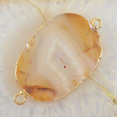 Natural Agate Druzy Geode Connector Gold Plated T026736