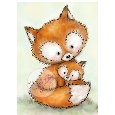 Wild Rose Studios A7 Clear Stempel Set Mummy Fox and Baby