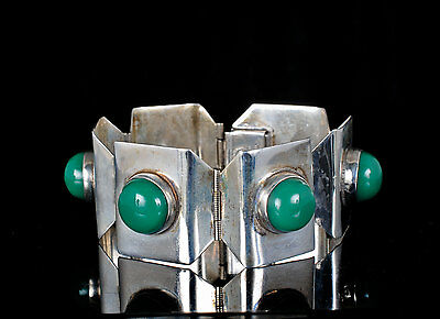 vintage Mexican Deco silver Bracelet machine age sterling green onyx glass cabs