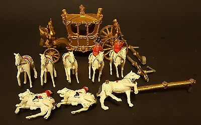 Crescent Royal Coach and Eight Horses, 4 Horsemen, Made in England, Cast Metal