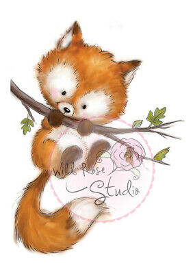 Wild Rose Studios A7 Clear Stempel Set Fox on Branch