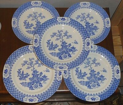 5 J&G Meakin Blue Pagoda dinner plates c.1912 really superb condition