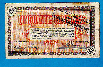 France 50 Centimes Belfont W/Hstamp Legal Circulation in L'Alsace Lorraine 1918