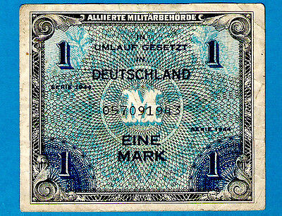"BRITISH ZONE Germany P192a 1 Mark AMC Serial # begining with  ""0"" 1944 VF RARE"