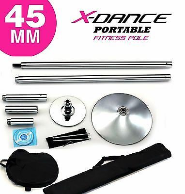 Portable Dance Pole 45mm Chrome by 9 Feet X-Dance Fitness + 2 Carrying Bags NEW