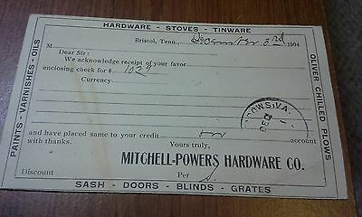 """Collectible 1904 Post Card """"MITCHELL-POWERS HARDWARE CO.""""   Bristol, TN"""