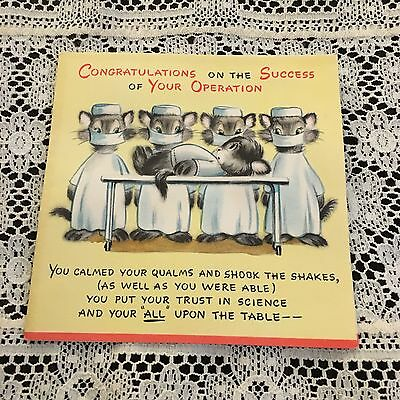 Vintage Greeting Card Get Well Cats  Doctor Operation Hallmark