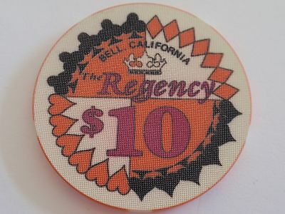$10 Casino Chip The REGENCY Casino - Bell, California / Suits of Cards Design