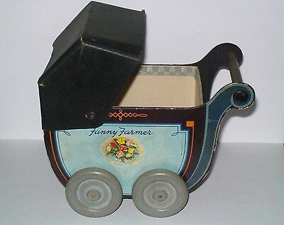 Vtg Fanny Farmer Baby Carriage Candies Box Candy Container Shower Home Decor