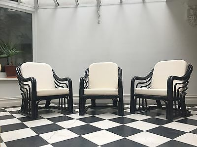 Striking cane / rattan armchairs x 3 – Hollywood Regency or Art Deco style