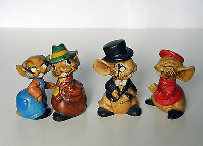 4 Vintage Mouse/Mice Cute Figurines 1976 (Hand Made) Great Condition (Kim Green)