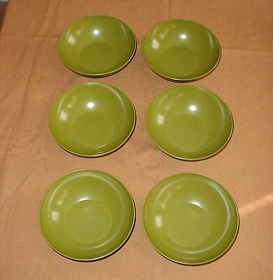 """6 Allied Chemical Avocado Green Melamine Melmac 6"""" Bowls Soup Cereal Salad"""