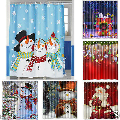 1PC Merry Christmas Polyester Fabric Waterproof Bathroom Shower Curtain & Hooks