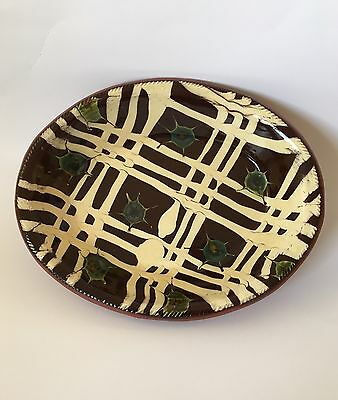 Oxford Earthen Ware Redware Oval criss cross Design 1995 signed by artist