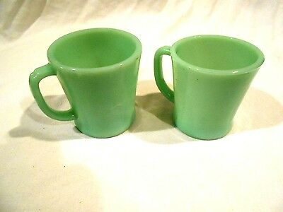 2-Fire King Jadite D-Handled Coffee Cups