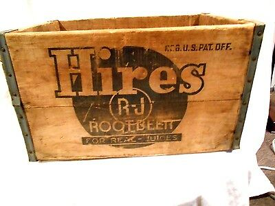 Hires Root Beer Divided Wood Advertising Crate  18 x 11.5 x 10.5  1950's